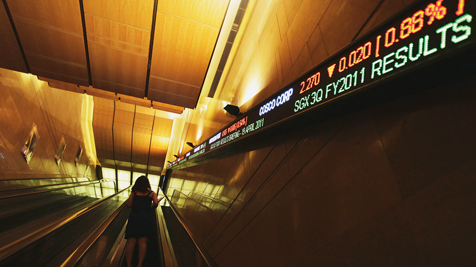 Escalator and stock ticker